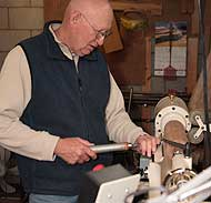 Dave Johnson ~ woodturner at a lathe